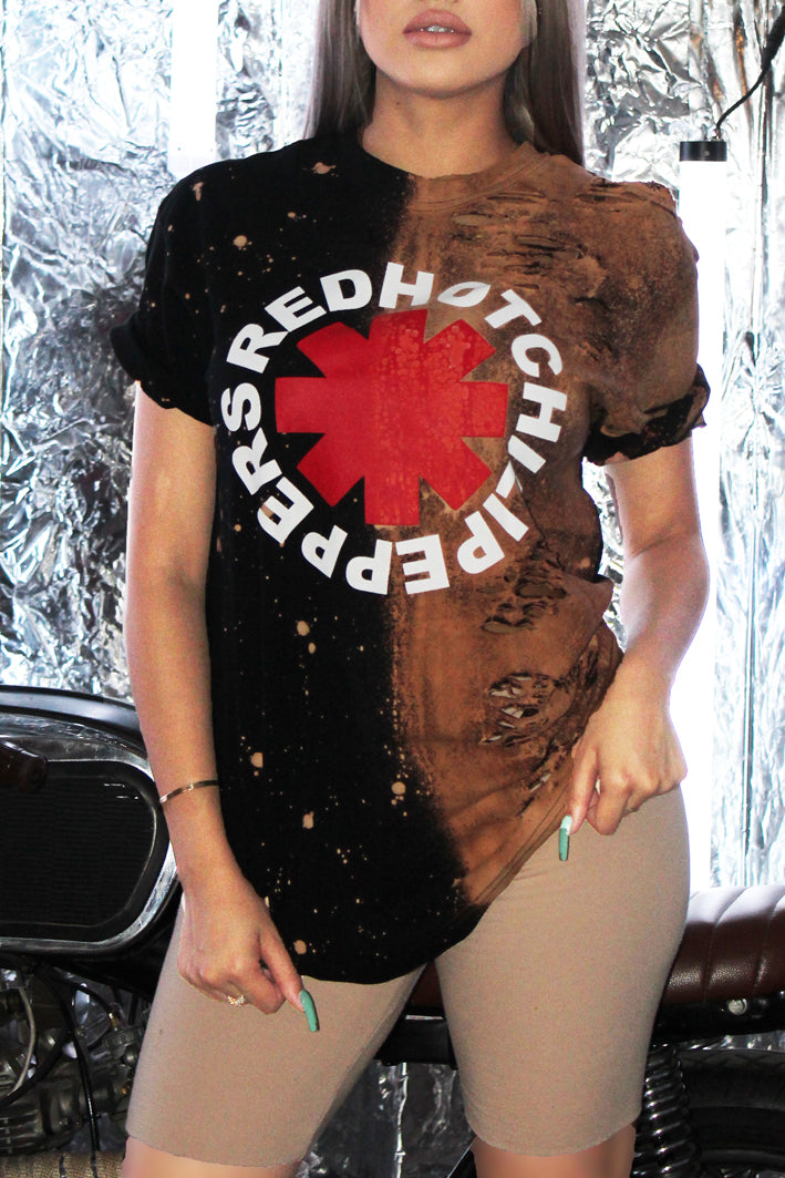 Vintage Style Rock Band Red Hot Chili Peppers Distressed Tshirt