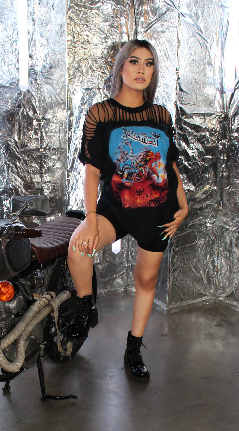 Oversize Rock N Roll Shirt | Distressed Tshirt | Judas Priest Tshirt