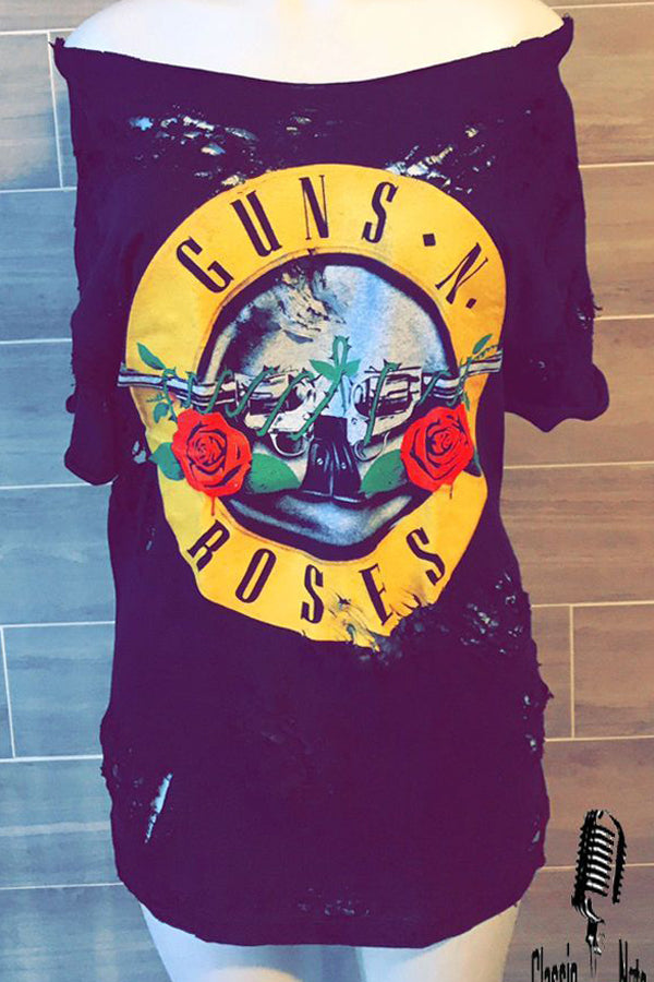Guns and Roses Distressed T Shirt Dress Long T / Dress