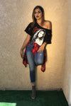 Guns and Roses Classic Bullet Logo Off Shoulder Distressed T Shirt  Dress