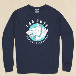 For Russ French Terry Raglan Crewneck Navy w/Teal
