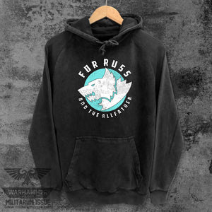 For Russ Mineral Washed Pullover Black w/Teal