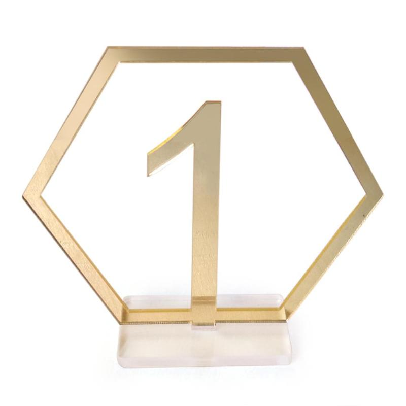 Hexagon Table Numbers Signs (1-20)