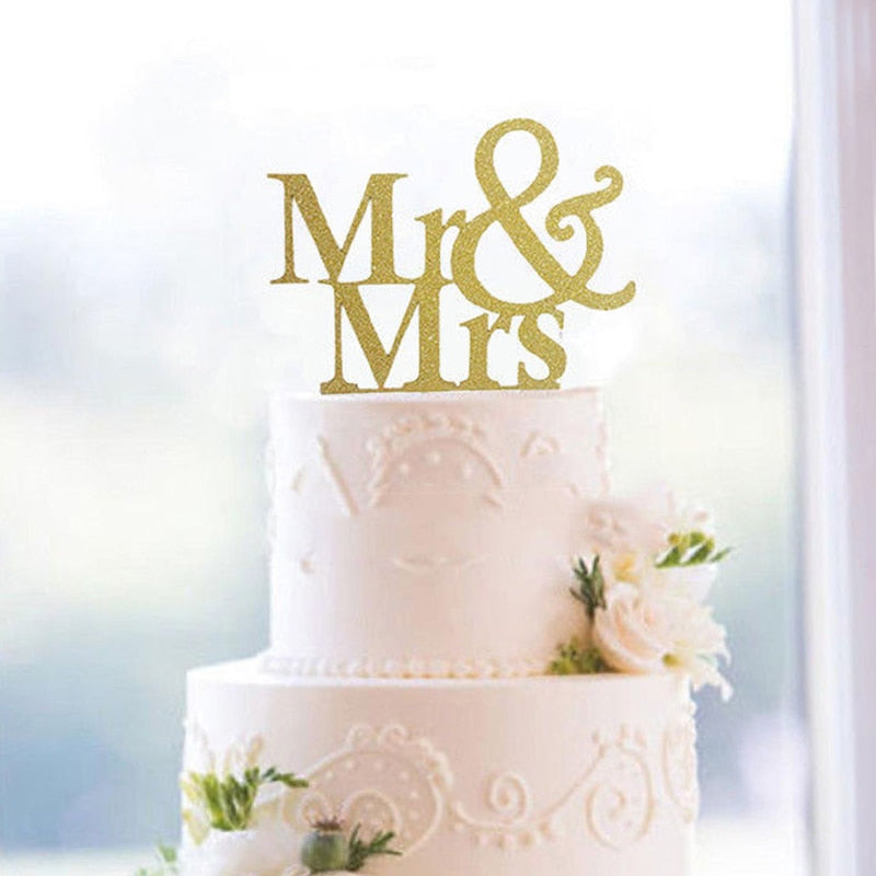 Wedding Cake Topper Gold & Silver