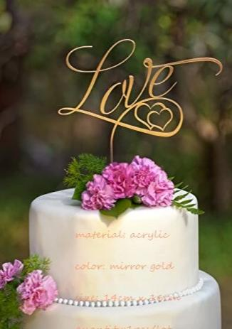 Mirror Gold Acrylic Cake Topper