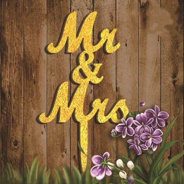 Acrylic Mr & Mrs Cake Topper