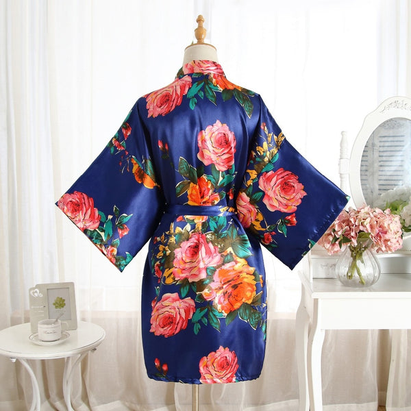 Navy Blue Silk Satin Bridal Robe