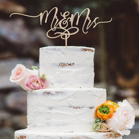 Personalized Mr & Mrs Wedding Cake Topper