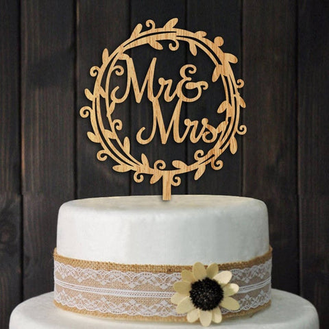Mr & Mrs Wooden Circular Wedding Cake Topper