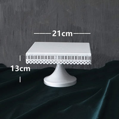 White Square Shaped Wedding Cake Stand 10""