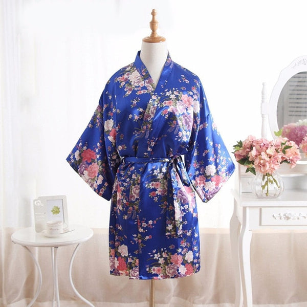 Floral Silk Satin Bridal Robe