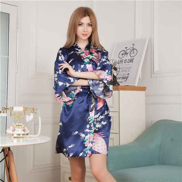 Flower & Peacock Silk Satin Bridal Robe