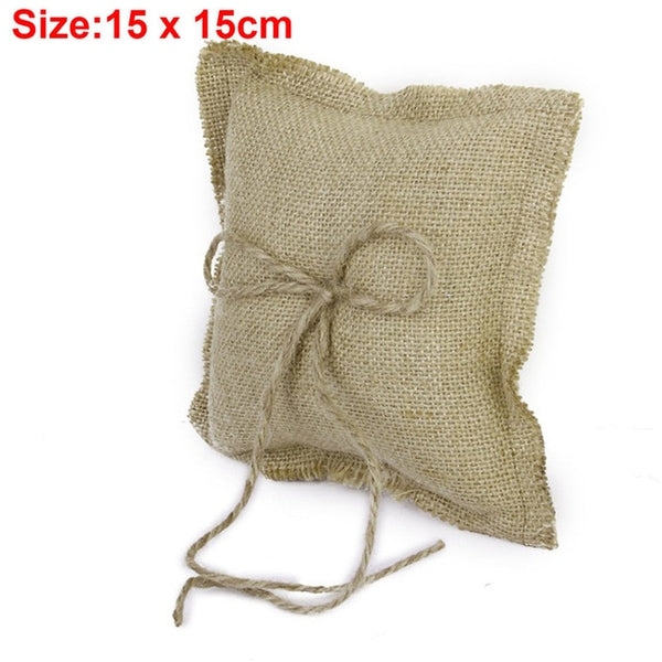 Burlap Ring Pillow With Optional Matching Basket