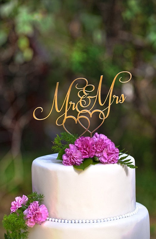 Mirror Gold Acrylic Mr & Mrs Wedding Cake Topper