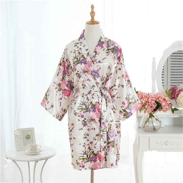 Cherry Floral Silk Satin Bridal Robe
