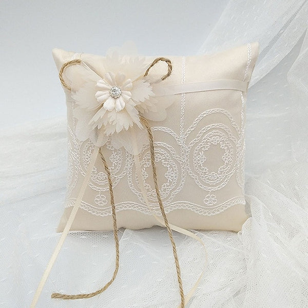 Premium Champagne Wedding Ring Pillow 15x15cm