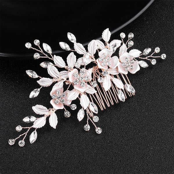 Adele Pink Flower Women Hair Comb