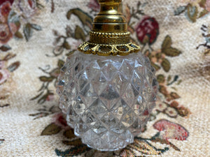 Vintage Perfume Bottle - rare, gold with cut glass
