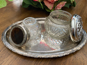Antique Victorian vanity set, silver