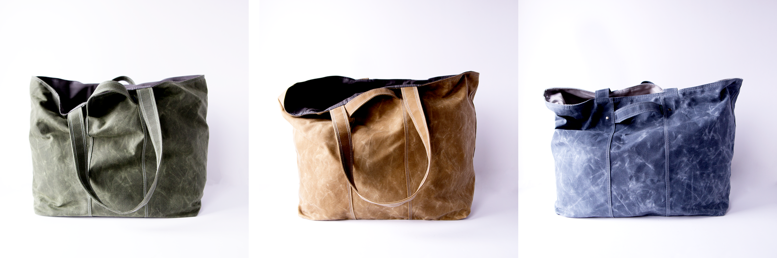 weekender large tote bag in three waxed canvas colors