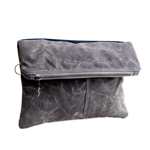 Envelope Clutch - in GRAY waxed canvas