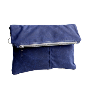 Envelope Clutch - in Navy waxed canvas