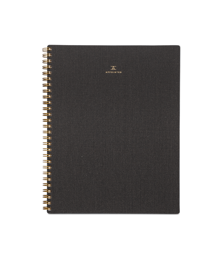 Appointed Bookcloth Spiral Notebook - Charcoal Gray