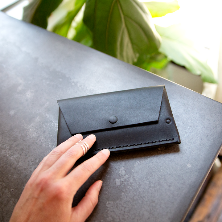 Tiny Clutch Phone Case - black leather