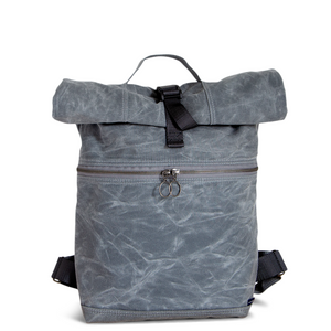 Backpack no.4 in Gray Waxed Canvas