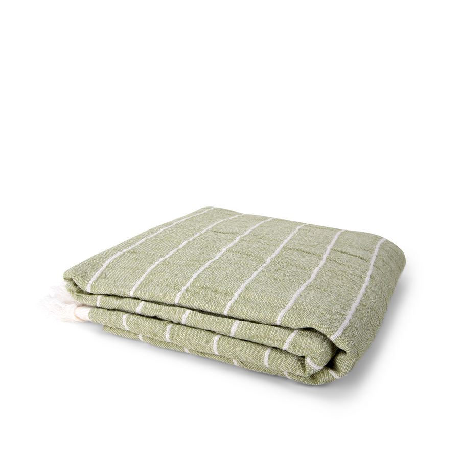 Handwoven Bag Blanket - Green Stripe