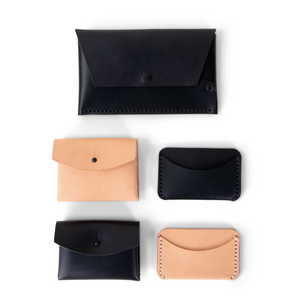 Leather Button Pouch - Black