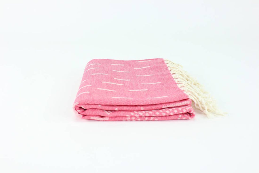 Handwoven Bag Blanket - Pink Hashes
