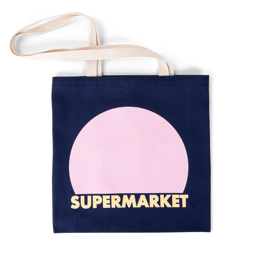 SUPERMARKET TOTE - navy pink bubble