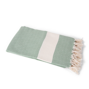 Handwoven Bag Blanket - Khaki Green Diamond