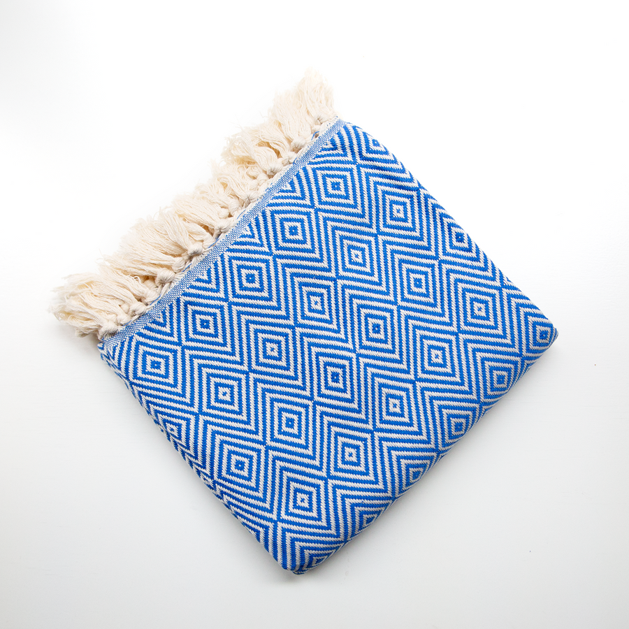 Handwoven Bag Blanket - Bright Blue Diamond