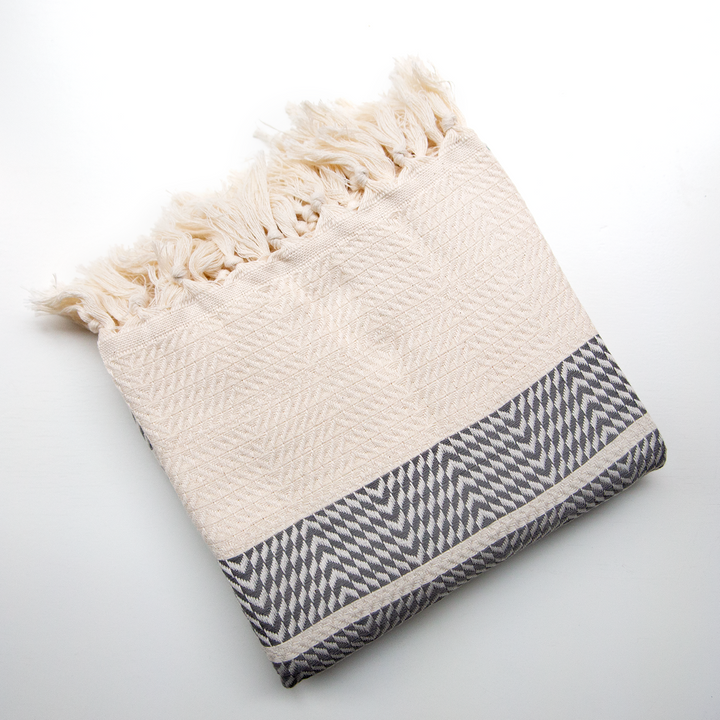 Handwoven Bag Blanket - Herringbone Gray Stripe