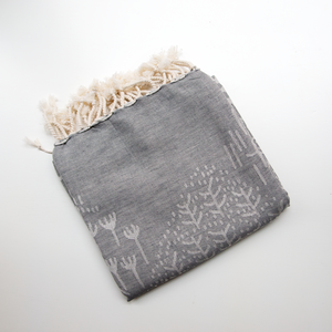Handwoven Bag Blanket - Gray Hashes