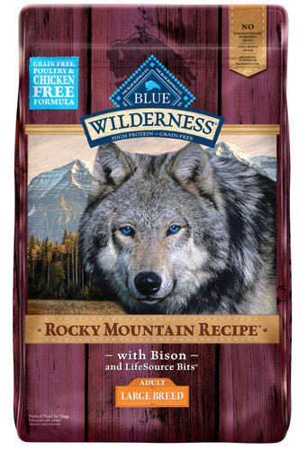 Blue Buffalo Wilderness Rocky Mountain Grain Free Natural Bison High Protein Recipe Adult Large Breed Dry Dog Food