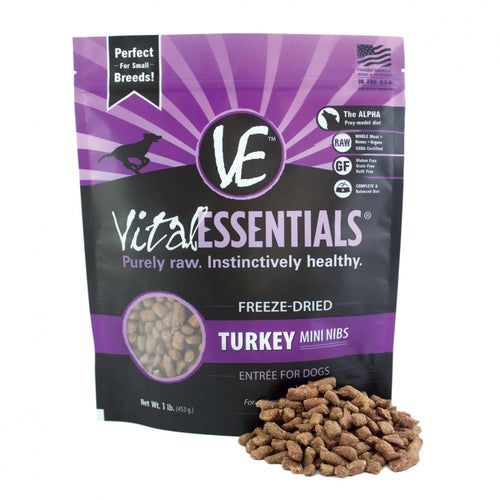Vital Essentials Freeze Dried Grain Free Turkey Mini Nibs Entree for Dogs Food