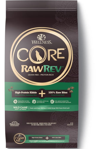 Wellness Core Raw Rev Natural Grain Free Wild Game Duck, Lamb, Wild Boar and Rabbit with Freeze Dried Lamb Dry Dog Food