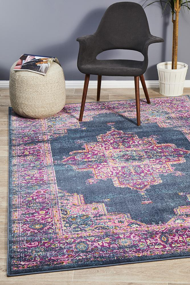 Evoke Release Navy Transitional Rug