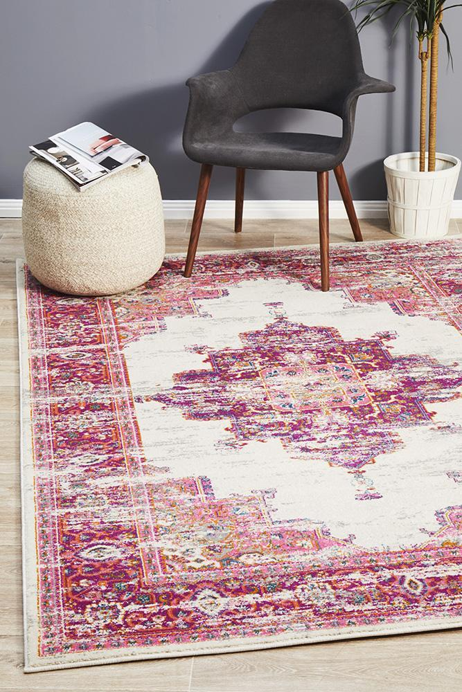 Alexa Transitional Rug Grey Fuchsia