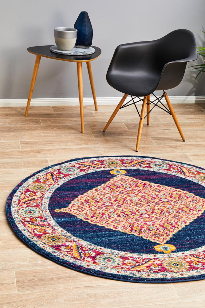 NILA 966 Royal Blue Round Rug