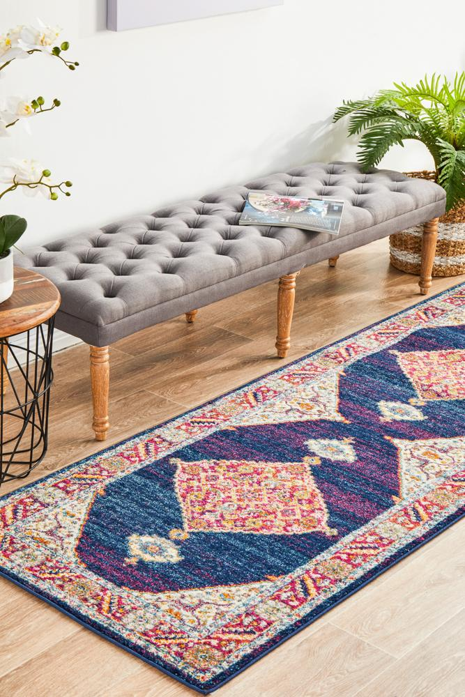 NILA 966 Royal Blue Runner Rug