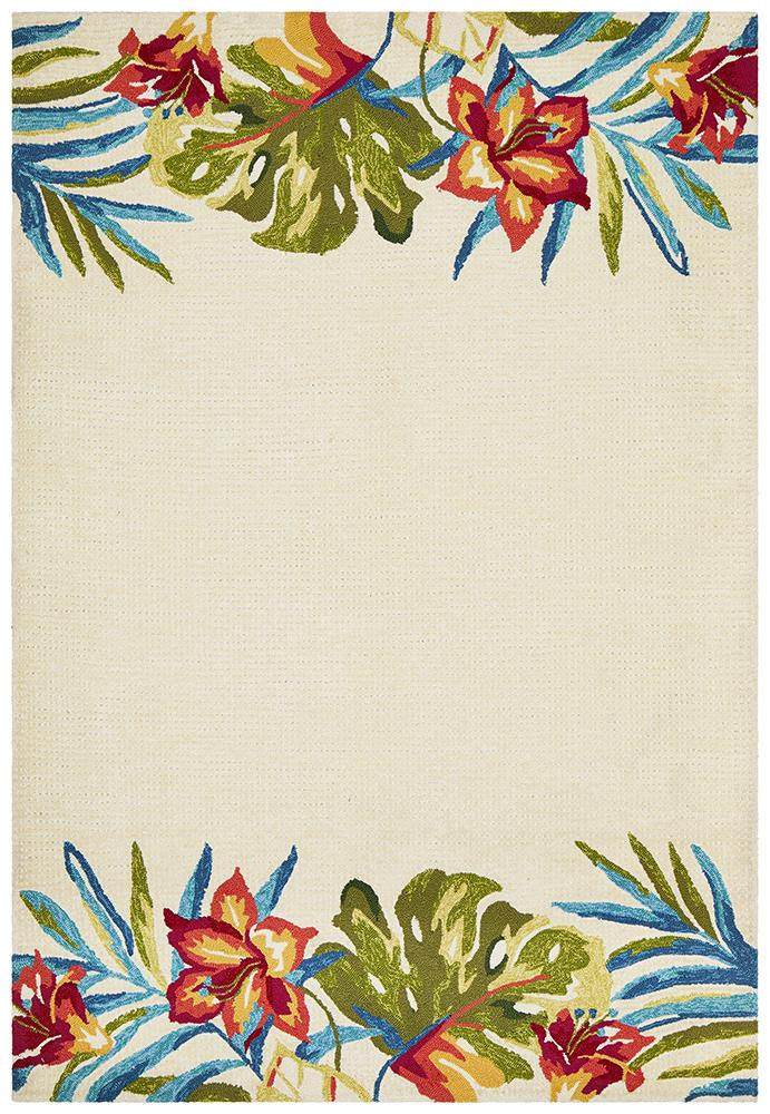 CUBA Anna Floral Indoor Outdoor Rug Cream