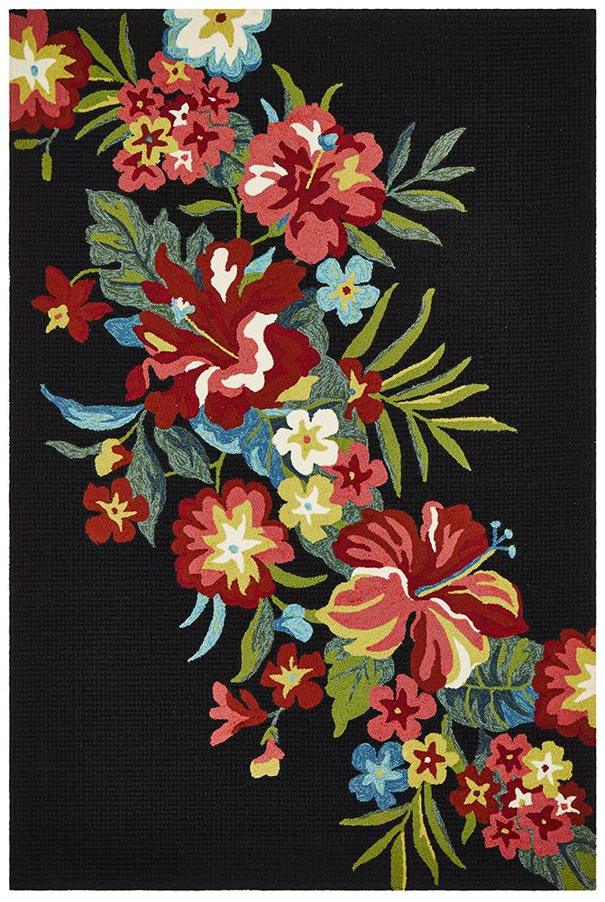 CUBA Kelsey Bouquet Black Indoor Outdoor Rug
