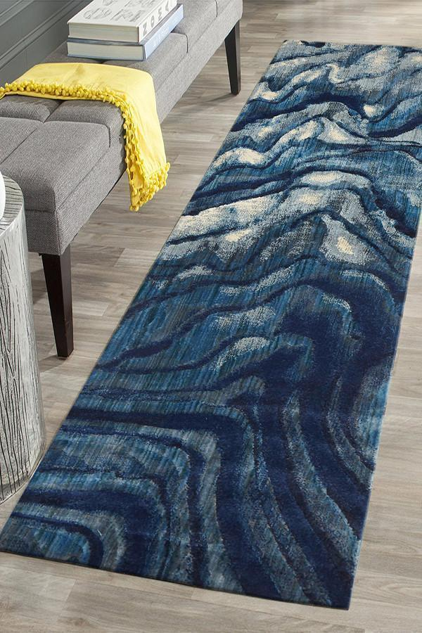 ADINA Ropes Modern Blue Runner Rug