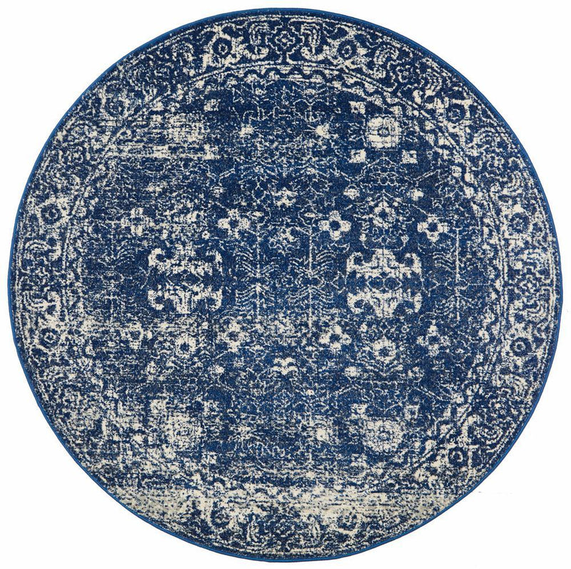 ENVI Oasis Navy Transitional Round Rug