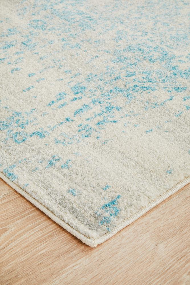 ENVI Glacier White Blue Transitional Runner Rug