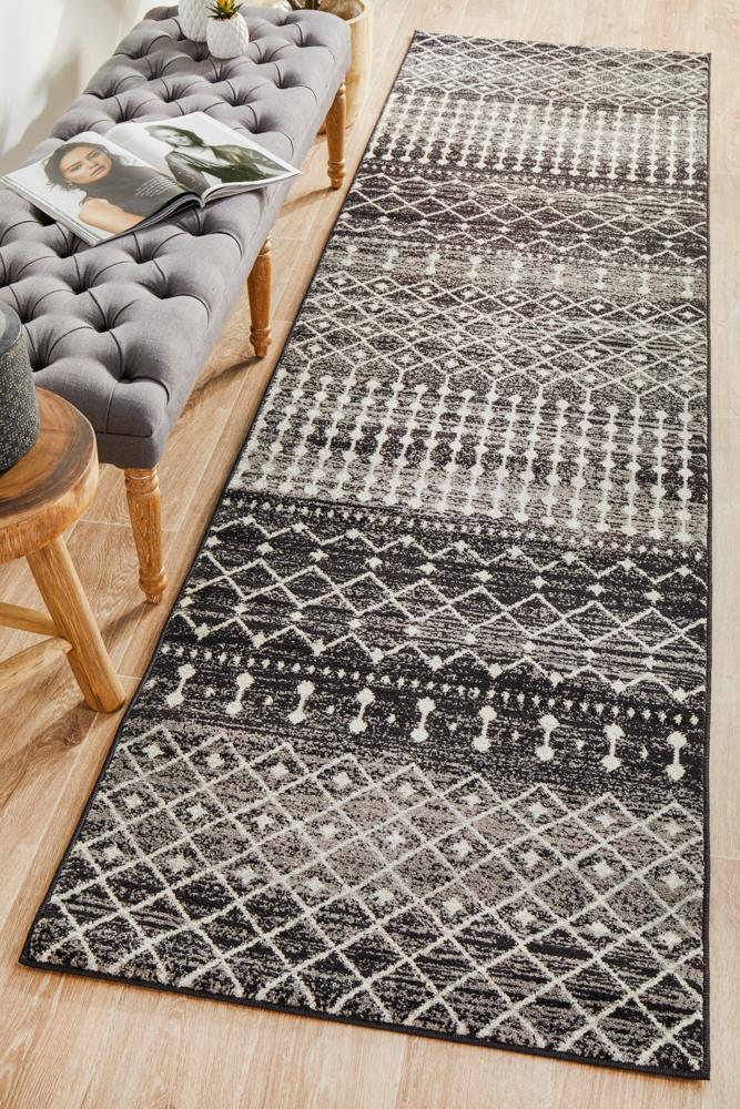 ENVI Simplicity Black Transitional Runner Rug